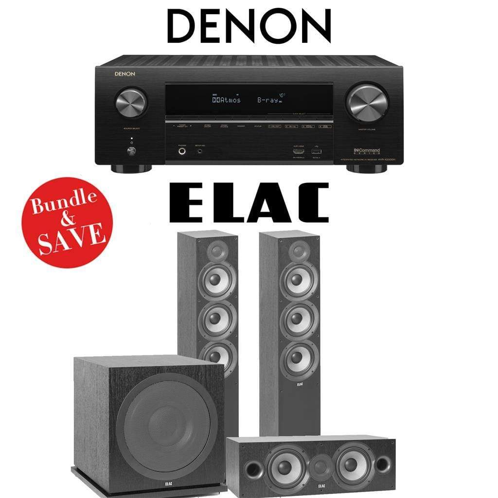 Denon AVR-X2500H 7.2-Channel 4K Network A/V Receiver + Elac F6.2 + Elac C6.2 + Elac Sub3030-3.1-Ch Home Theater Package - Stereo Advantage