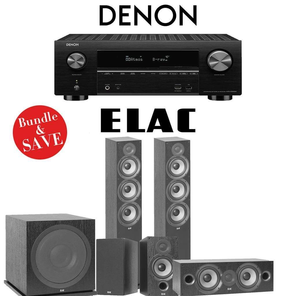 Elac F6.2 Debut 2.0 5.1-Ch Home Theater System with Denon AVR-X3500H 7.2-Channel 4K Networking AV Receiver - Stereo Advantage