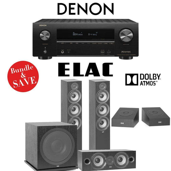 Elac F6.2 Debut 2.0 3.1.2-Ch Dolby Atmos Home Theater System with Denon AVR-X2500H 7.2-Channel 4K Networking AV Receiver