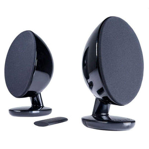 KEF EGG Versatile Desktop Speaker System - Gloss Black (Pair) - Stereo Advantage