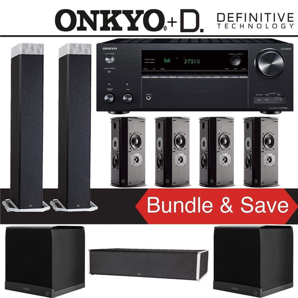 Definitive Technology BP9080 x 7.2-Ch High Performance Home Theater Speaker Package with Onkyo TX-NR686 7.2-Channel 4K Network A/V Receiver