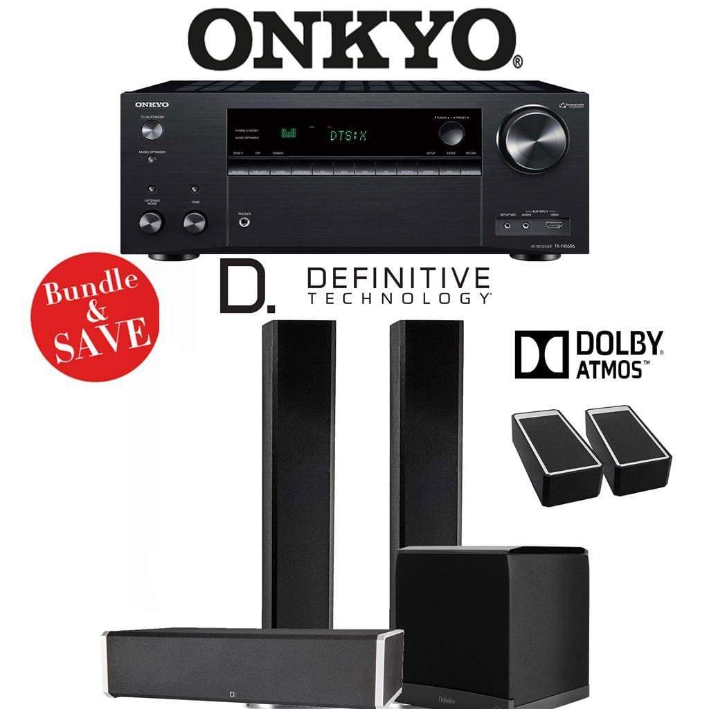 Definitive Technology BP9060 3.1.2-Ch Dolby Atmos High Performance Home Theater Speaker Package with Onkyo TX-NR686 7.2-Channel 4K Networ... - Stereo Advantage