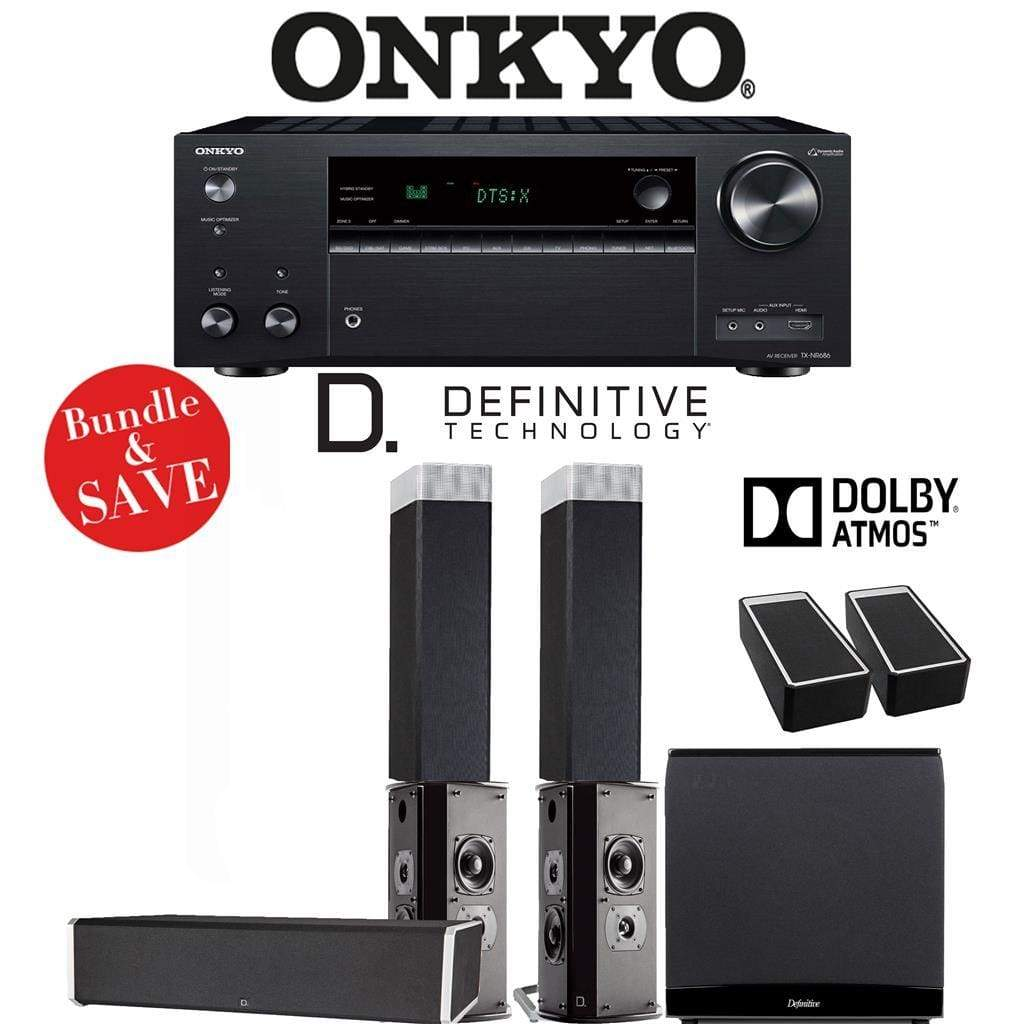 Definitive Technology BP9080 x 5.1.2-Ch Dolby Atmos High Performance Home Theater Speaker Package with Onkyo TX-NR686 7.2-Channel 4K Netw... - Stereo Advantage