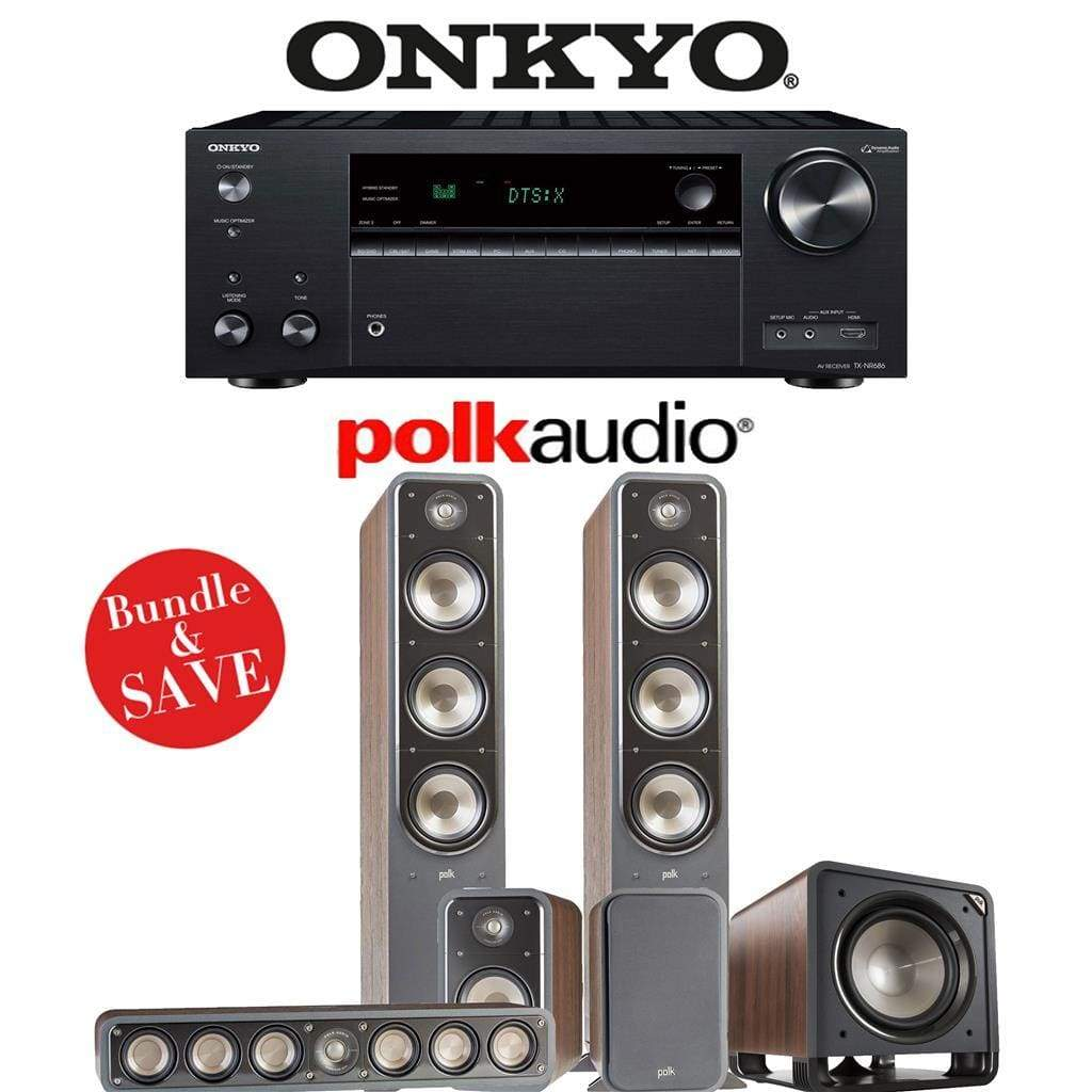 Polk Audio Signature S60 5 1-Ch Home Theater Speaker System (Brown Walnut)  with Onkyo TX-NR686 7 2-Channel 4K Network A/V Receiver