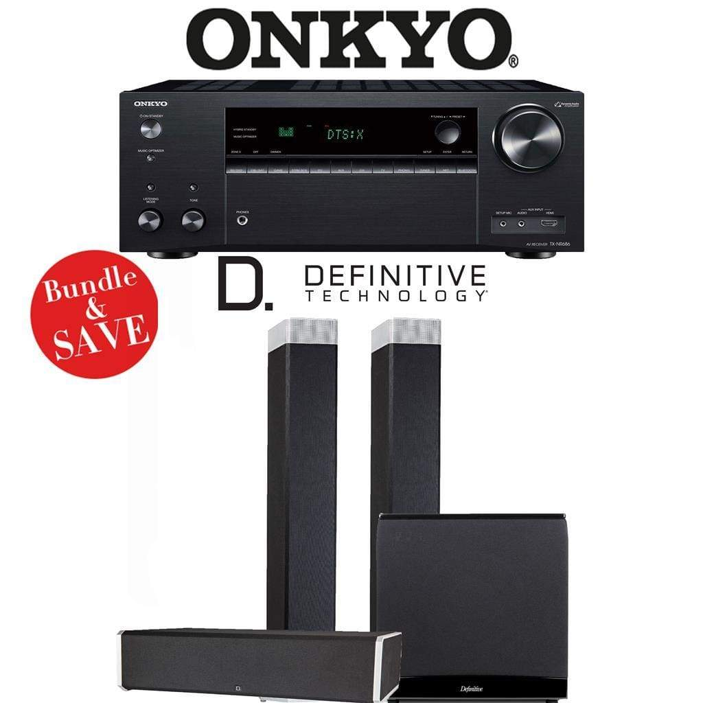 Definitive Technology BP9080 x 3.1-Ch High Performance Home Theater Speaker Package with Onkyo TX-NR686 7.2-Channel 4K Network A/V Receiver - Stereo Advantage