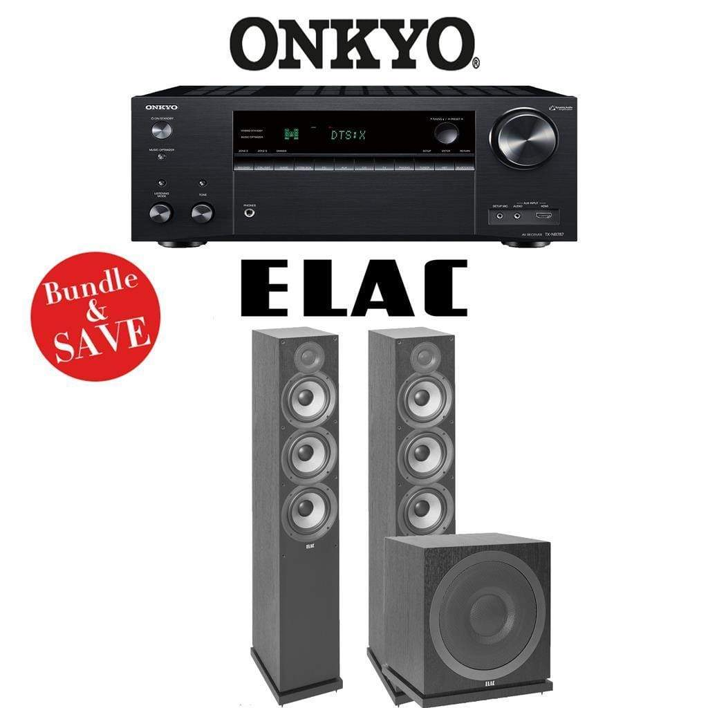 Onkyo TX-NR787 9.2-Channel 4K Network A/V Receiver + Elac F6.2 + Elac Sub3010-2.1-Ch Home Theater Package - Stereo Advantage
