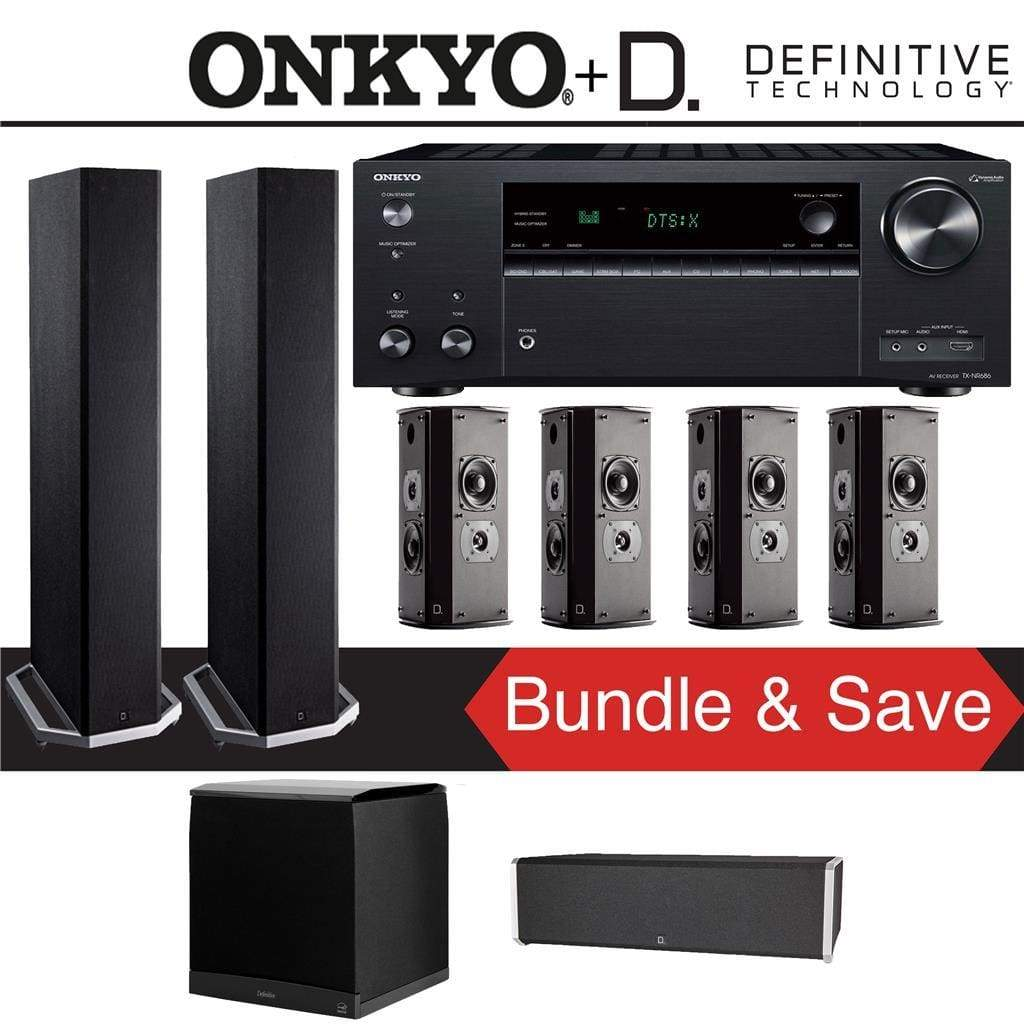 Definitive Technology BP9020 7.1-Ch High Performance Home Theater Speaker Package with Onkyo TX-NR686 7.2-Channel 4K Network A/V Receiver - Stereo Advantage