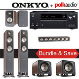 Polk Audio Signature S55 5.2-Ch Home Theater Speaker System (Brown Walnut) with Onkyo TX-NR686 7.2-Channel 4K Network A/V Receiver - Stereo Advantage