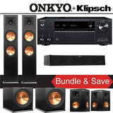 Klipsch RP-280F 5.2-Ch Reference Premiere Home Theater Speaker System with Onkyo TX-NR686 7.2-Channel 4K Network A/V Receiver - Stereo Advantage