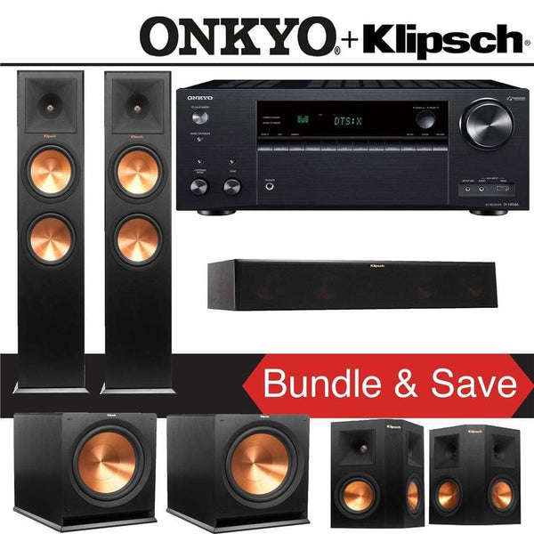 Klipsch RP-280F 5.2-Ch Reference Premiere Home Theater Speaker System with Onkyo TX-NR686 7.2-Channel 4K Network A/V Receiver