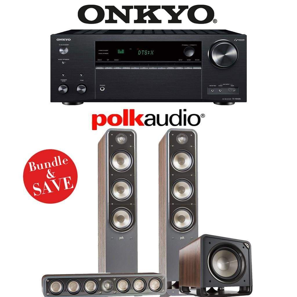 Onkyo TX-NR686 7.2-Channel THX Certified Network A/V Receiver + Polk Audio S60 + Polk Audio S35 + Polk Audio HTS12-3.1-Ch Home Theater Pa... - Stereo Advantage