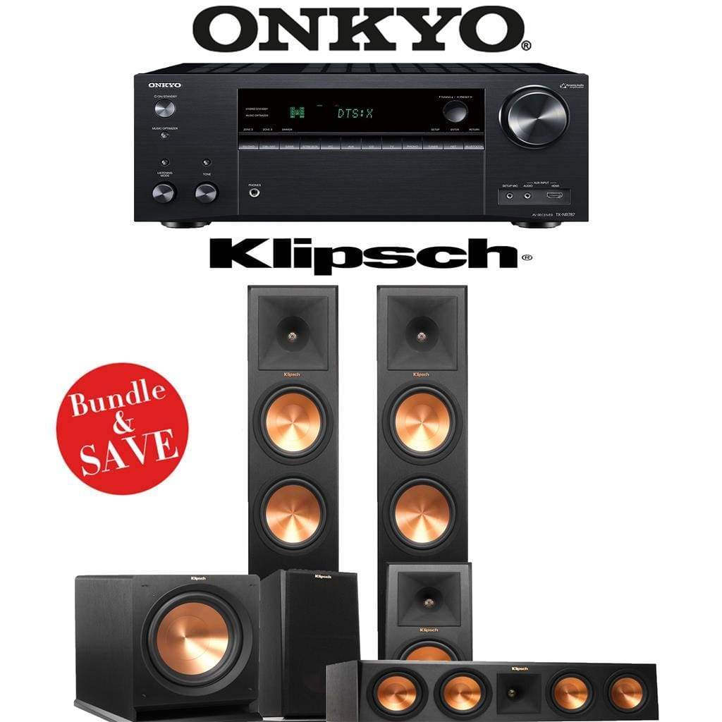 Klipsch RP-280F 5.1-Ch Reference Premiere Home Theater Speaker System with Onkyo TX-NR787 9.2-Channel 4K Network A/V Receiver - Stereo Advantage