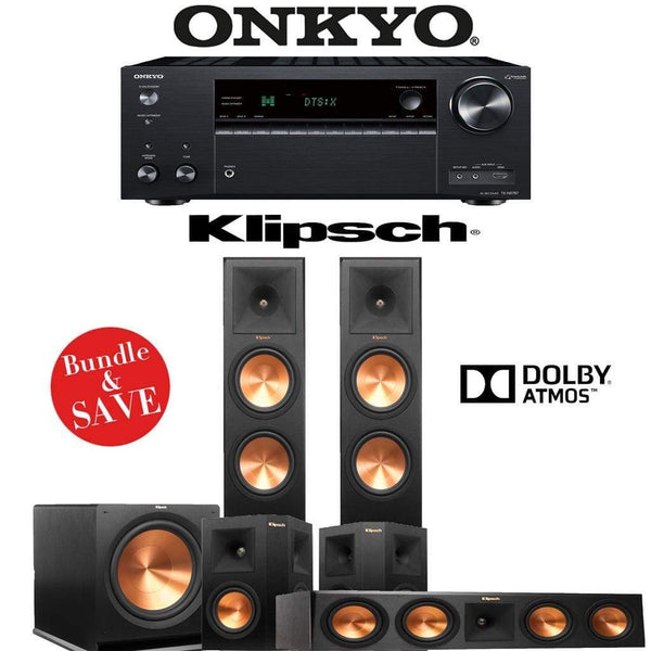 Klipsch RP-280FA 5.1.2-Ch Reference Premiere Dolby Atmos Home Theater Speaker System with Onkyo TX-NR787 9.2-Channel 4K Network A/V Recei...