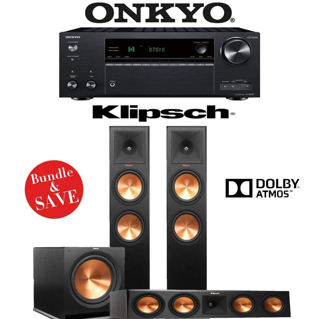 Klipsch RP-280FA 3.1.2-Ch Reference Premiere Dolby Atmos Home Theater Speaker System with Onkyo TX-NR787 9.2-Channel 4K Network A/V Recei... - Stereo Advantage