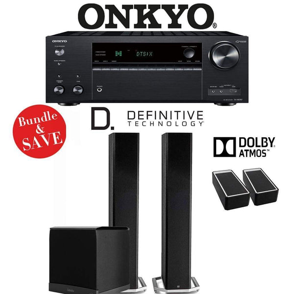 Definitive Technology BP9060 2.1.2-Ch Dolby Atmos Home Theater Speaker Package with Onkyo TX-NR787 9.2-Channel 4K Network A/V Receiver