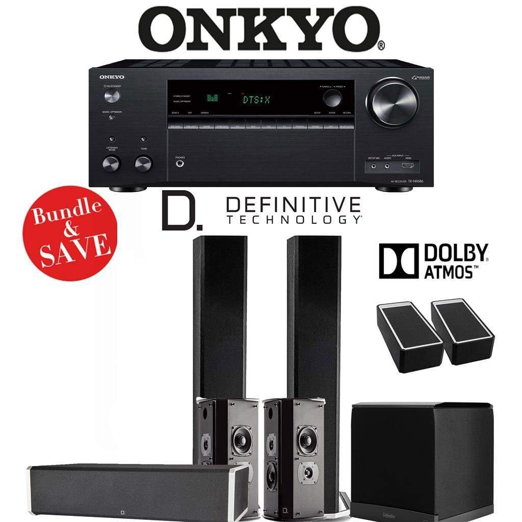 Definitive Technology BP9060 5.1.2-Ch Dolby Atmos High Performance Home Theater Speaker Package with Onkyo TX-NR686 7.2-Channel 4K Networ... - Stereo Advantage