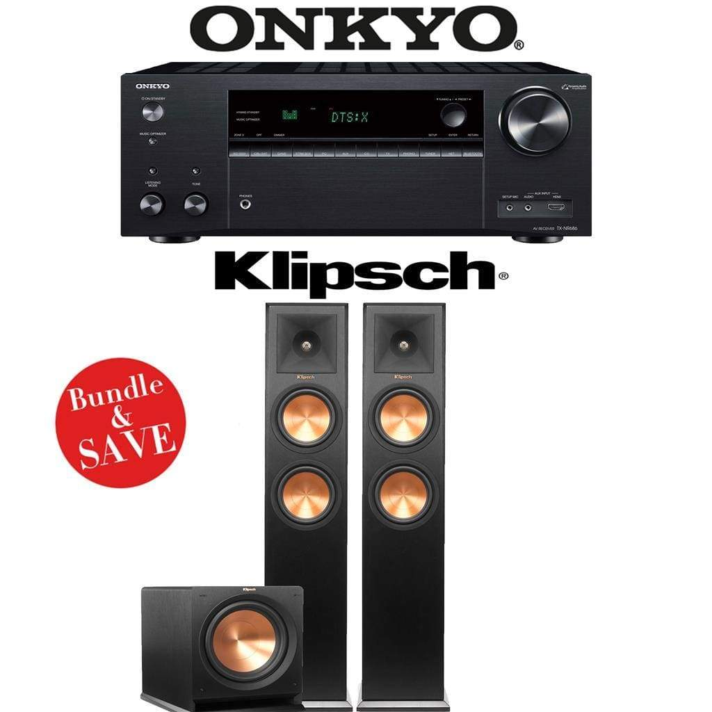 Onkyo TX-NR686 7.2-Channel THX Certified Network A/V Receiver + Klipsch RP-260F + Klipsch R-112SW - 2.1-Ch Home Theater Package - Stereo Advantage