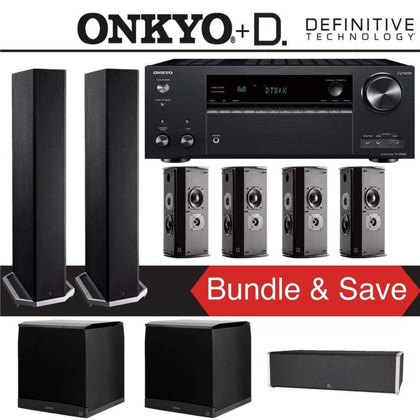 Definitive Technology BP9020 7.2-Ch High Performance Home Theater Speaker Package with Onkyo TX-NR686 7.2-Channel 4K Network A/V Receiver