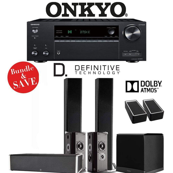 Definitive Technology BP9060 5.1.2-Ch Dolby Atmos Home Theater Speaker Package with Onkyo TX-NR787 9.2-Channel 4K Network A/V Receiver