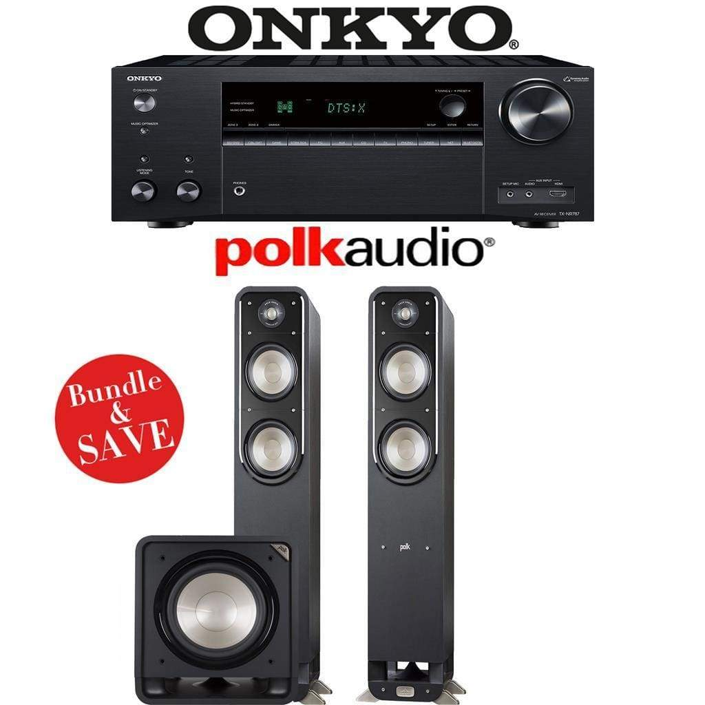 Onkyo TX-NR787 9.2-Channel 4K Network A/V Receiver + Polk Audio S55 + Polk Audio HTS12-2.1-Ch Home Theater Package - Stereo Advantage