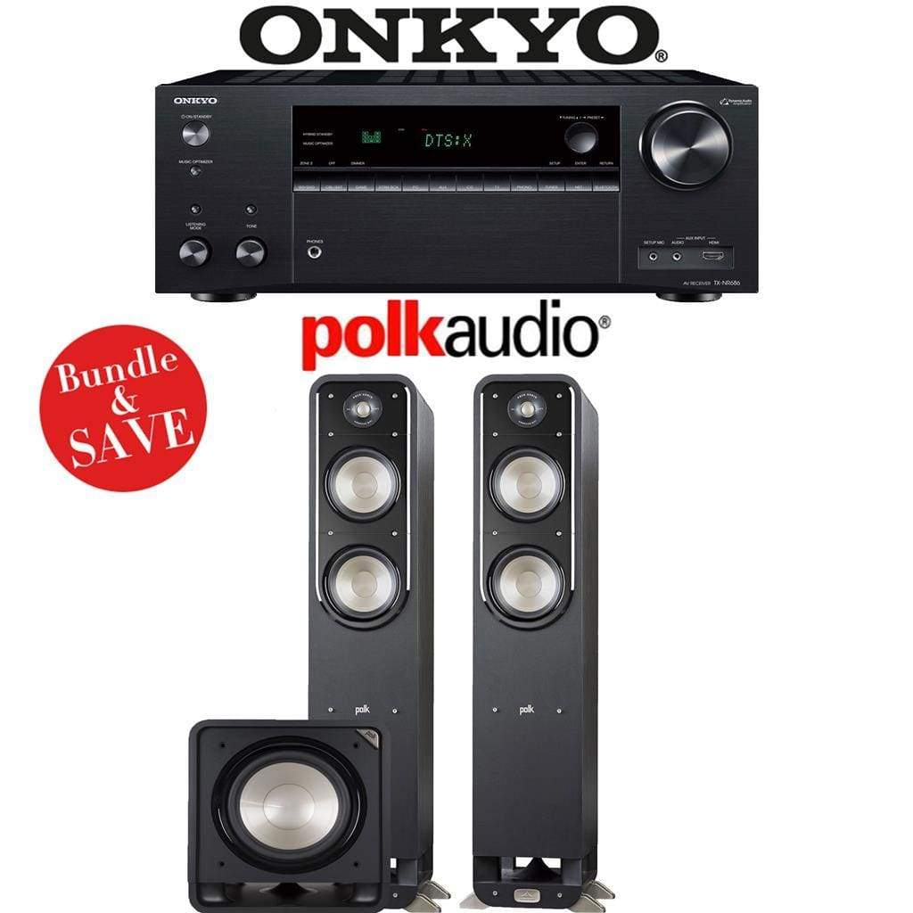 Onkyo TX-NR686 7.2-Channel THX Certified Network A/V Receiver + Polk Audio S55 + Polk Audio HTS12-2.1-Ch Home Theater Package - Stereo Advantage