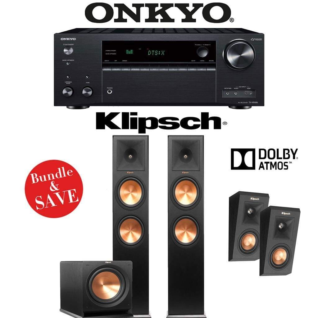 Klipsch RP-280F 2.1.2-Ch Reference Premiere Dolby Atmos Home Theater Speaker System with Onkyo TX-NR686 7.2-Channel 4K Network A/V Receiver - Stereo Advantage