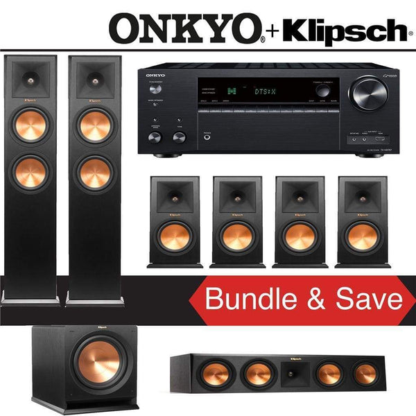 Klipsch RP-260F 7.1-Ch Reference Premiere Home Theater Speaker System with Onkyo TX-NR787 9.2-Channel 4K Network A/V Receiver