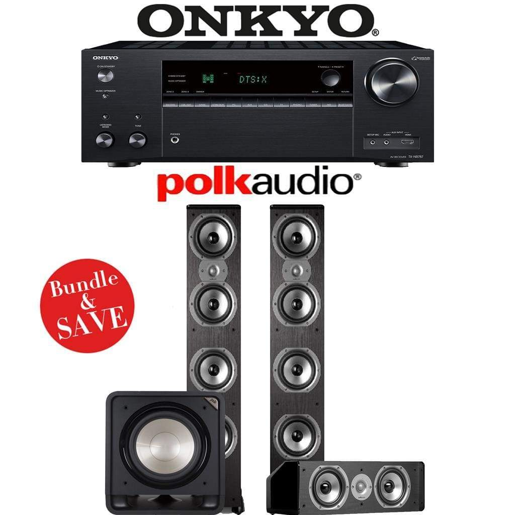 Onkyo TX-NR787 9.2-Channel 4K Network A/V Receiver + Polk Audio TSi 500 + Polk Audio CS10 + Polk Audio HTS12-3.1-Ch Home Theater Package - Stereo Advantage