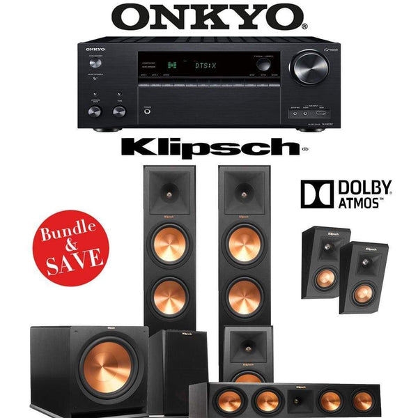 Klipsch RP-280F 5.1.2-Ch Reference Premiere Dolby Atmos Home Theater Speaker System with Onkyo TX-NR787 9.2-Channel 4K Network A/V Receiv...