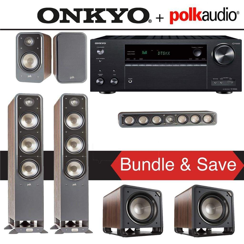 Polk Audio Signature S60 5.2-Ch Home Theater Speaker System (Brown Walnut) with Onkyo TX-NR686 7.2-Channel 4K Network A/V Receiver - Stereo Advantage