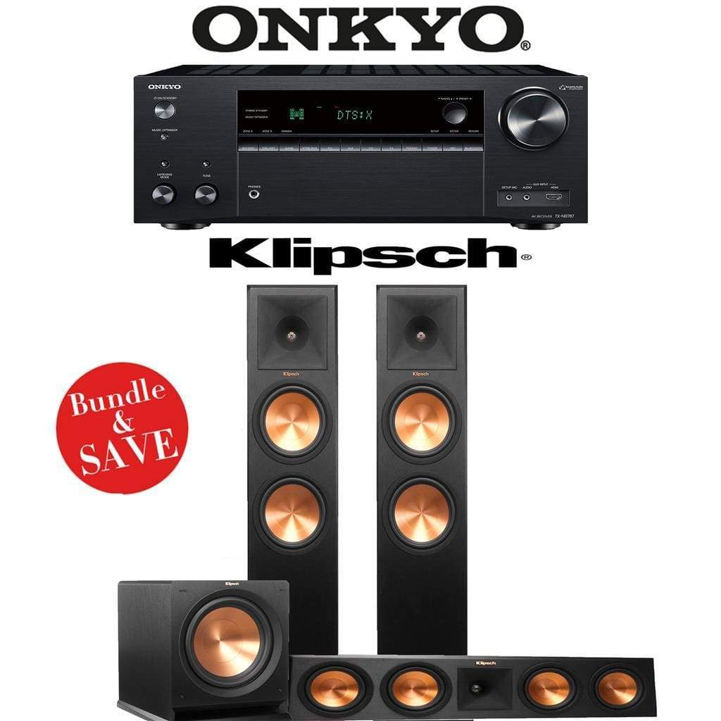 Klipsch RP-280F 3.1-Ch Reference Premiere Home Theater Speaker System with Onkyo TX-NR787 9.2-Channel 4K Network A/V Receiver - Stereo Advantage