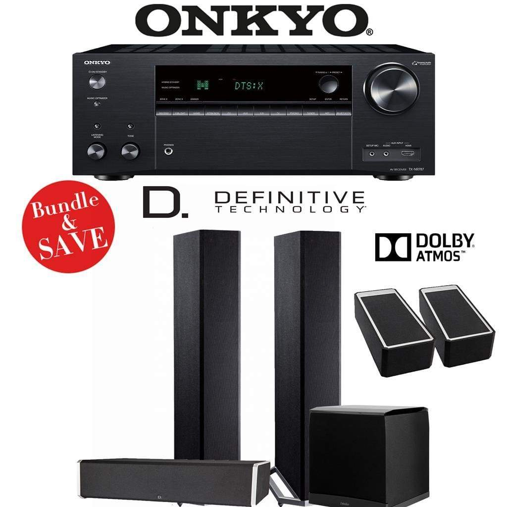 Definitive Technology BP9020 3.1.2-Ch Dolby Atmos Home Theater Speaker Package with Onkyo TX-NR787 9.2-Channel 4K Network A/V Receiver - Stereo Advantage