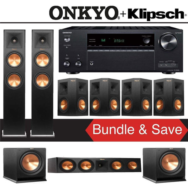 Klipsch RP-260F 7.2-Ch Reference Premiere Home Theater System with Onkyo TX-NR686 7.2-Channel 4K Network A/V Receiver