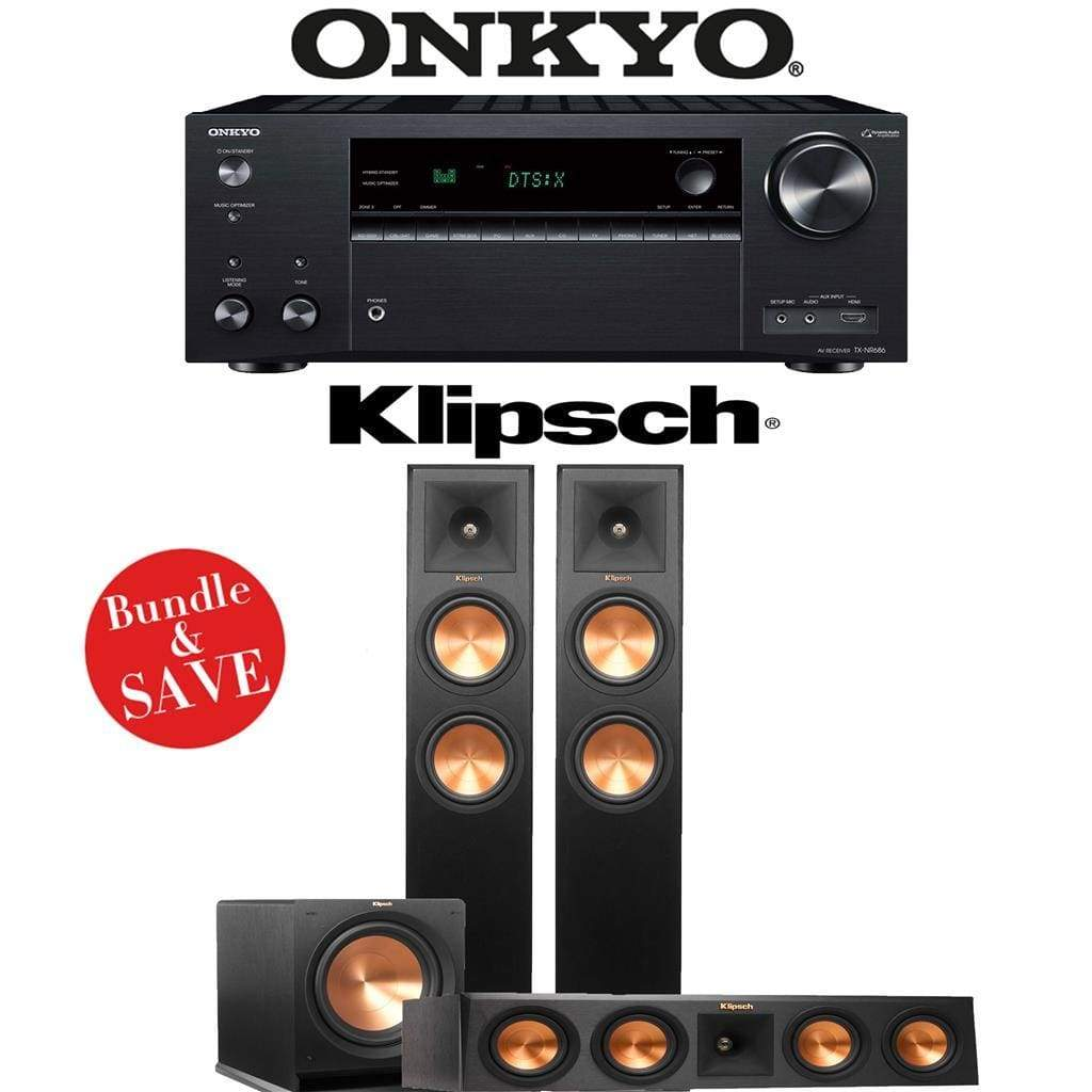Klipsch RP-260F 3.1-Ch Reference Premiere Home Theater System with Onkyo TX-NR686 7.2-Channel 4K Network A/V Receiver - Stereo Advantage