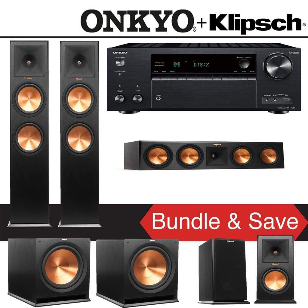 Klipsch RP-280F 5.2-Ch Reference Premiere Home Theater Speaker System with Onkyo TX-NR787 9.2-Channel 4K Network A/V Receiver - Stereo Advantage