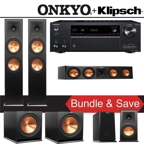 Klipsch RP-280F 5.2-Ch Reference Premiere Home Theater Speaker System with Onkyo TX-NR787 9.2-Channel 4K Network A/V Receiver