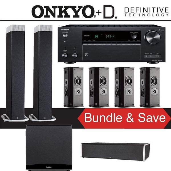 Definitive Technology BP9080 x 7.1.2-Ch Dolby Atmos Home Theater Speaker Package with Onkyo TX-NR787 9.2-Channel 4K Network A/V Receiver