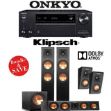 Klipsch RP-260F 3.1.2-Ch Reference Premiere Dolby Atmos Home Theater System with Onkyo TX-NR686 7.2-Channel 4K Network A/V Receiver - Stereo Advantage