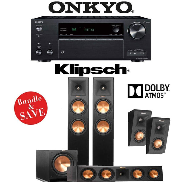 Klipsch RP-260F 3.1.2-Ch Reference Premiere Dolby Atmos Home Theater System with Onkyo TX-NR686 7.2-Channel 4K Network A/V Receiver