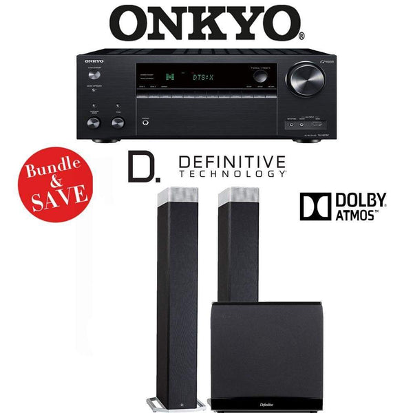 Definitive Technology BP9080x 2.1.2-Ch Dolby Atmos Home Theater Speaker Package with Onkyo TX-NR787 9.2-Channel 4K Network A/V Receiver