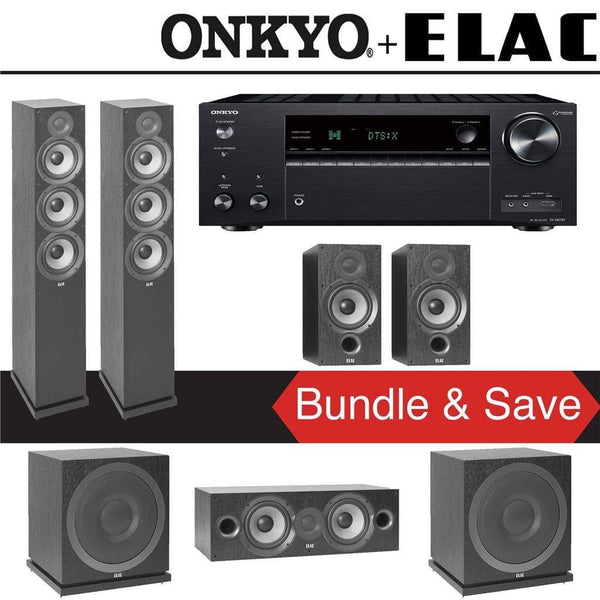 Elac F6.2 Debut 2.0 5.2-Ch Home Theater Speaker System with Onkyo TX-NR787 9.2-Channel 4K Network AV Receiver