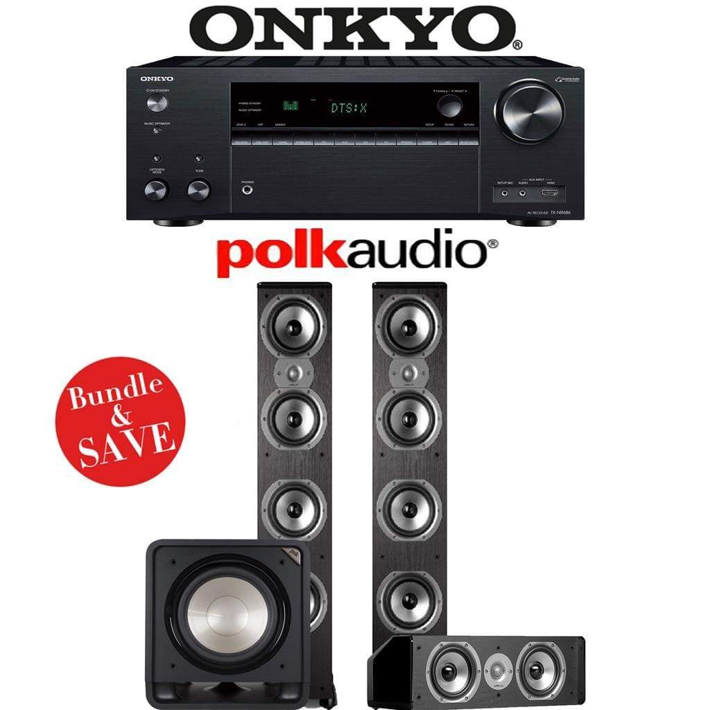 Onkyo TX-NR686 7.2-Channel THX Certified Network A/V Receiver + Polk Audio TSi 500 + Polk Audio CS10 + Polk Audio HTS12-3.1-Ch Home Theat... - Stereo Advantage