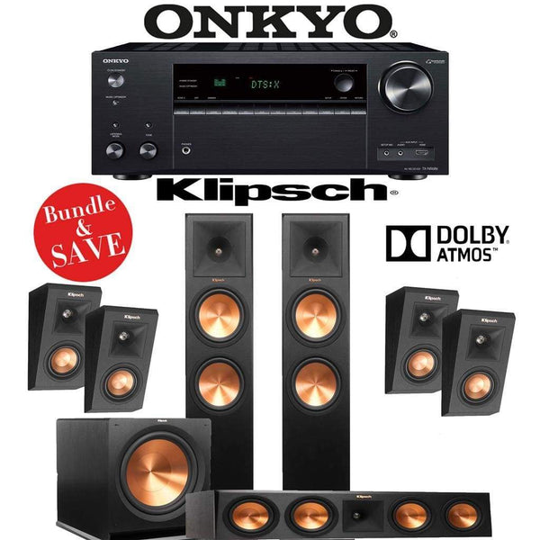 Klipsch RP-280F 3.1.4-Ch Reference Premiere Dolby Atmos Home Theater Speaker System with Onkyo TX-NR686 7.2-Channel 4K Network A/V Receiver