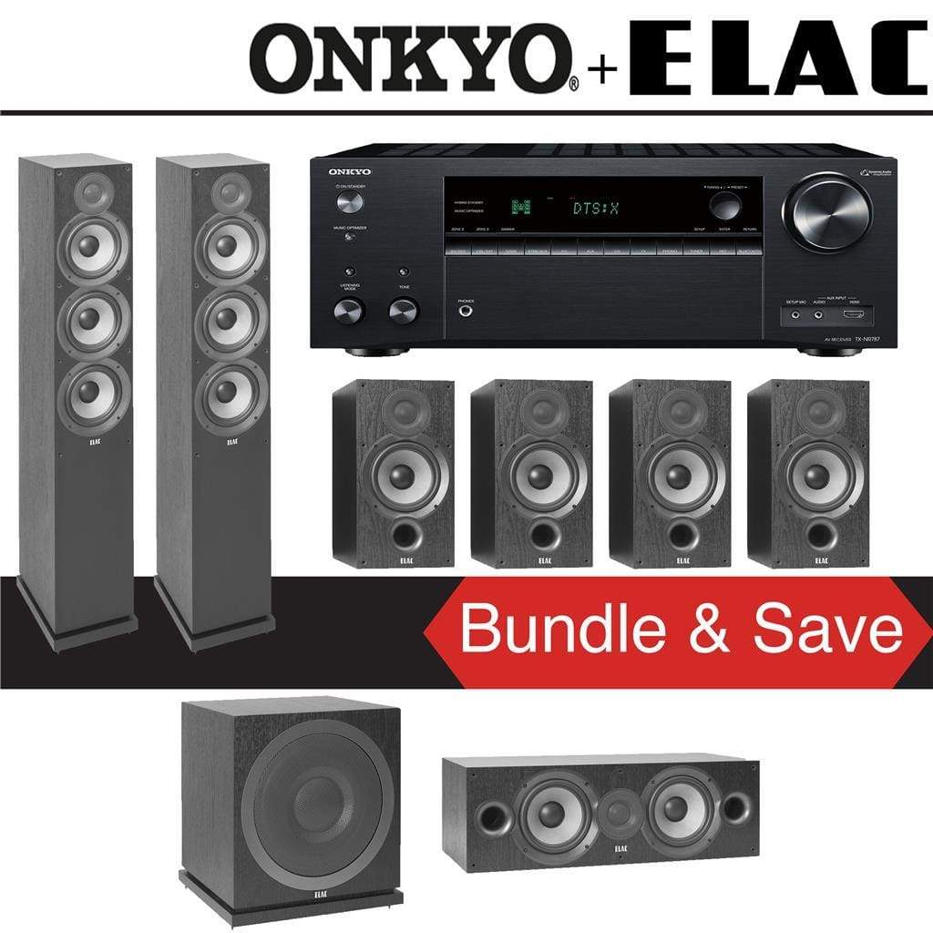 Elac F6.2 Debut 2.0 7.1-Ch Home Theater Speaker System with Onkyo TX-NR787 9.2-Channel 4K Network AV Receiver - Stereo Advantage