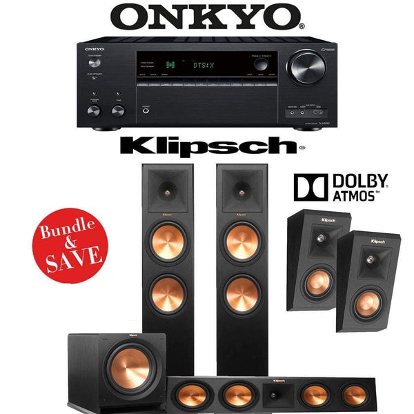 Klipsch RP-280F 3.1.2-Ch Reference Premiere Dolby Atmos Home Theater Speaker System with Onkyo TX-NR787 9.2-Channel 4K Network A/V Receiv...