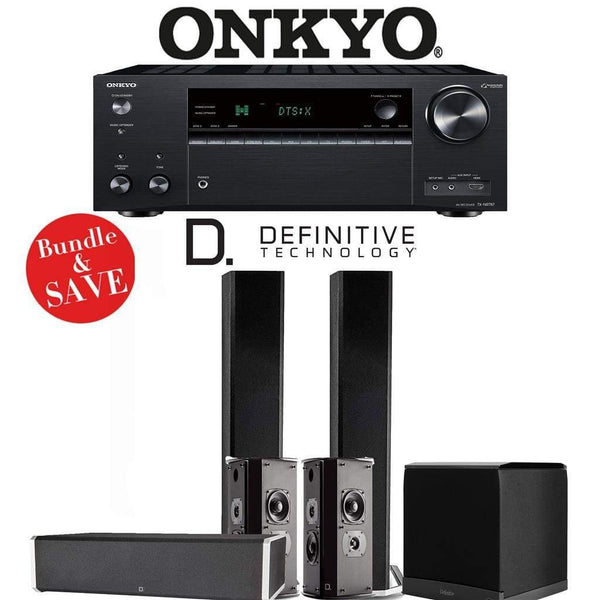 Definitive Technology BP9060 5.1-Ch Home Theater Speaker Package with Onkyo TX-NR787 9.2-Channel 4K Network A/V Receiver