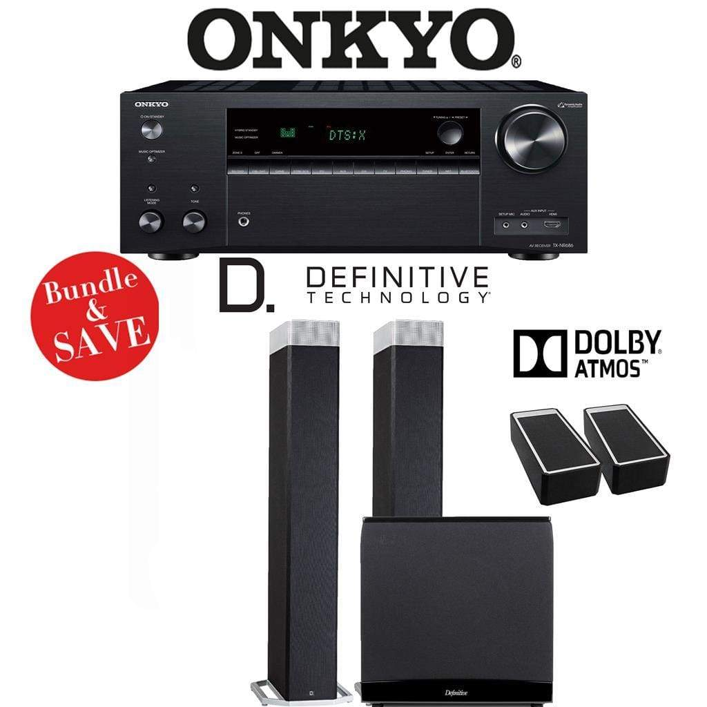 Definitive Technology BP9080 x 2.1.2-Ch Dolby Atmos High Performance Home Theater Speaker Package with Onkyo TX-NR686 7.2-Channel 4K Netw... - Stereo Advantage