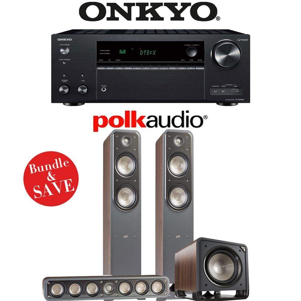 Onkyo TX-NR686 7.2-Channel THX Certified Network A/V Receiver + Polk Audio S55 + Polk Audio S35 + Polk Audio HTS12-3.1-Ch Home Theater Pa... - Stereo Advantage