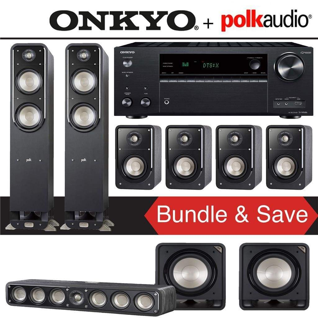 Polk Audio Signature S55 7.2-Ch Home Theater Speaker System with Onkyo TX-NR686 7.2-Channel 4K Network A/V Receiver - Stereo Advantage
