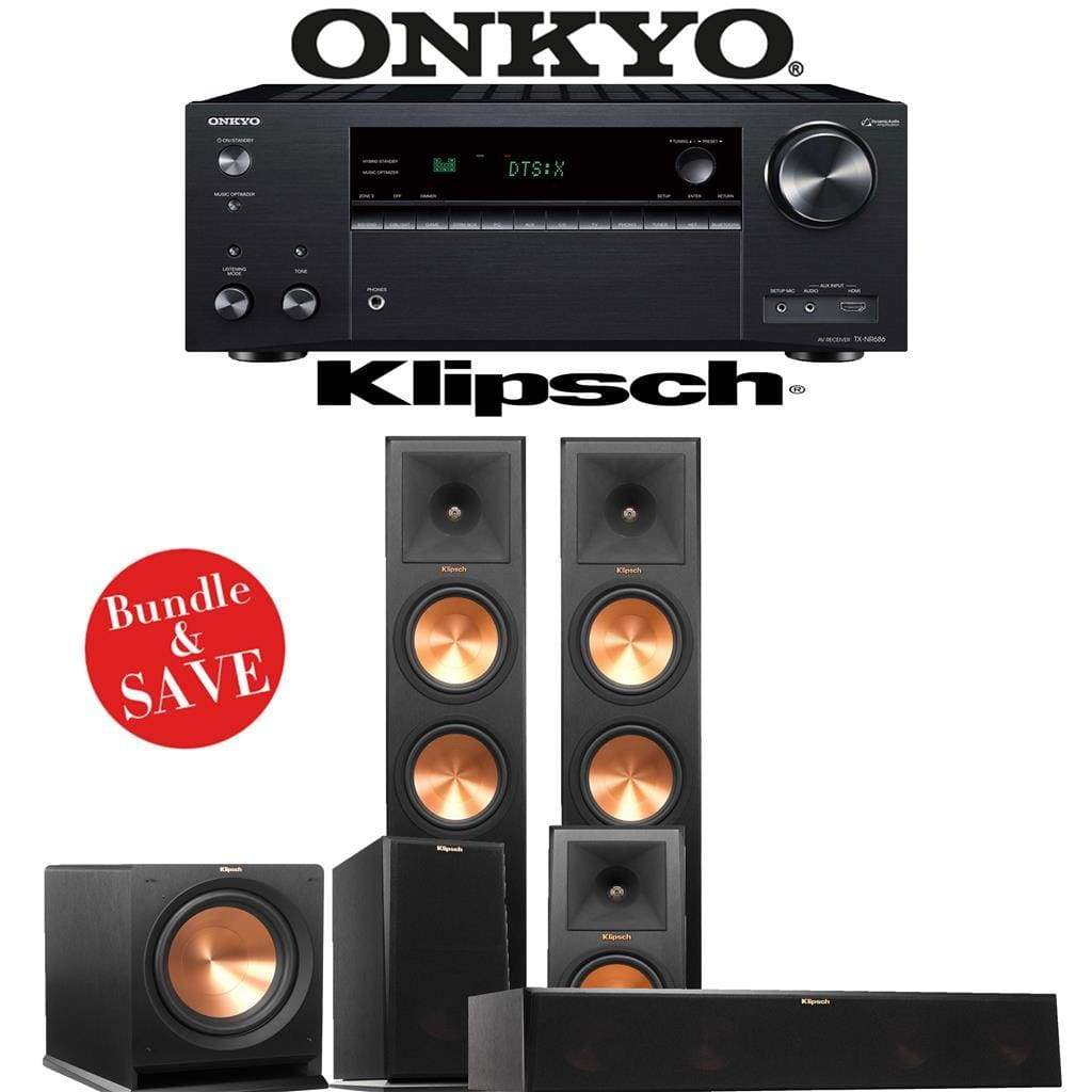 Klipsch RP-280F 5.1-Ch Reference Premiere Home Theater Speaker System with Onkyo TX-NR686 7.2-Channel 4K Network A/V Receiver - Stereo Advantage